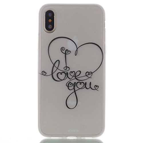 inShang iPhone X 5.8 inch Custodia [Trasparente cover iPhone X 5.8 inch] [luminoso nel buio], comoda Cover posteriore di case di stile di protezione I Love You
