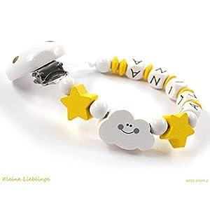 Schnullerkette mit Namen Mädchen Junge Holz Wolke Sterne - weiß gelb - Baby - Holzbuchstaben - Silikonring