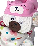 Regalo Bambino Neonato ragazza -> Torta di pannolini, regalo ideale per la festa di nascita di un ragazza neonato sorpresa -> Pampers 3 -> regalo per pannolini (ragazza Nr. 3)