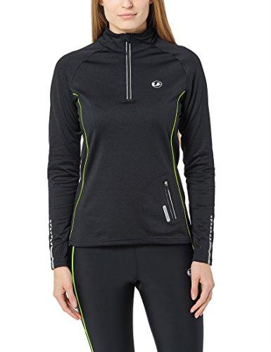 Ultrasport Damen Jimi windabweisendes angerautes Fleece Laufshirt mit Reflektoren und Quick-Dry-Funktion Nelli, Schwarz/Neon Gelb, M