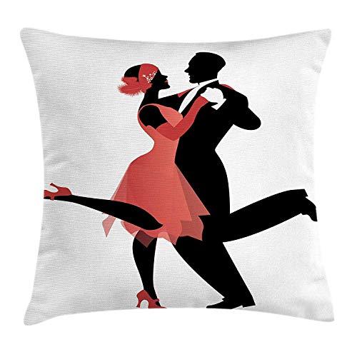 Jxrodekz Dance Dekokissen Kissenbezug, Old American Nightlife Paar in 20er Jahre Stil Kleidung Tanzen Charleston, dekoratives Quadrat A