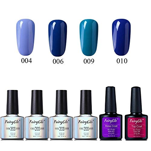 Esmalte de Uñas Semipermanente Uñas de Gel UV LED Kit de Manicura Serie de Color Azul con Base Coat Top Coat Pintauñas Soak off 6pcs 10ml de Fairyglo-Azul kit003