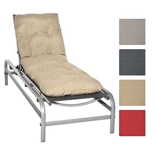 Beautissu Auflage für Garten-Liege Flair RL 190x60x8cm Sitz-Polster für Sonnenliege Schaumflocken-Füllung Natur