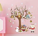 ZBYLL Pegatina De Ventana De Navidad Árbol De Navidad Santa Claus Dormitorio Salón Adhesivo De Pared De Fondo