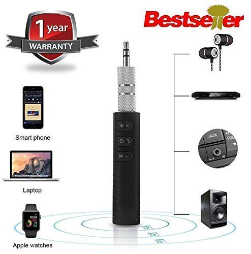 Celrax BT450 Wireless Bluetooth Receiver 3.5mm Jack Stereo Bluetooth Audio Music Receiver Adapter for Speaker Car Aux Hands Free Kit Compatible with All Android, iOS and iOS Devices - Assorted Colour