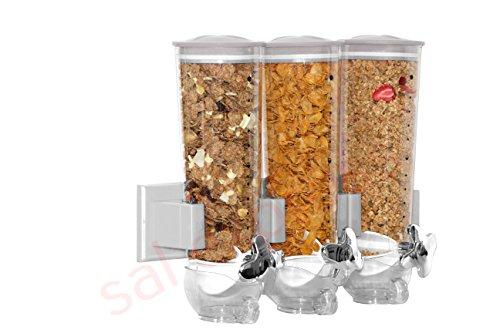 SaleemSpace - Dispensador / unidad de almacenamiento triple de cereales y alimentos secos, para montar en la pared plata