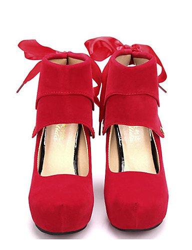WSS 2016 Chaussures Femme-Décontracté-Noir / Rouge-Talon Aiguille-Talons-Chaussures à Talons-Laine synthétique black-us6 / eu36 / uk4 / cn36
