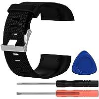 VORCOOL Banda de reemplazo de la Correa de Sobretensión Fitbit TPE Wriststrap Pulsera de Seguimiento de la Aptitud con Herramienta para Aumento de Fitbit - Tamaño Grande (Negro)
