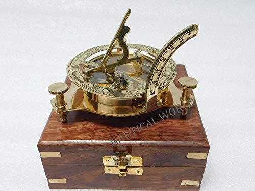 Nautical World Kompass Sonnenuhr, Messing, 7,6 cm, maritimes Design, antikes nautisches Sonnenuhr, Kompass