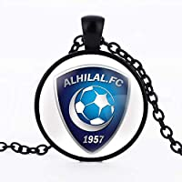 Black Chain necklace with circle pendant with Al-Hilal Club logo