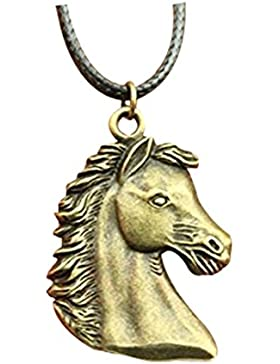 Fashion Antik Bronze Farbe 43* 29mm Pferd Anhänger Leder Kette Halskette