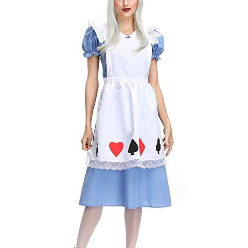 ay Bühnenkostüm, Red Heart Maid Kostüm Blauer Rock + Weiße Schürze + Kopfbedeckung-blue-XL ()