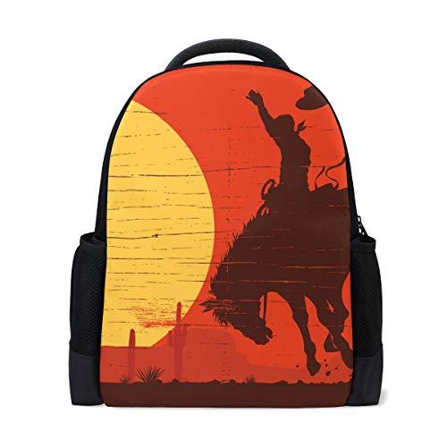 Rucksack Art Western Desert Sunset Cowboy Pferderucksack Perfekt für Schulreisen Kindertagesstätte für Teen Boys Girls