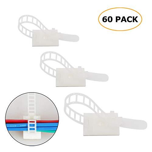60 Piezas ajustable Cable Tie Bracket abrazadera de cable clip de alambre de gestión de Cable negro para ordenador electrónico eléctrico cableado de comunicación y fija (Blanco)