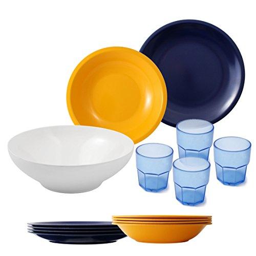 Cartaffini - Set camping Giallo/Blu - bicchieri Azzurri, 14 pezzi: 1 insalatiera, 4 piatti piani, 4 piatti fondi, 4 bicchieri, 1 borsa
