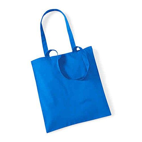 Westford Mill Leben Lange Griffe Shopper Schultertasche Einkaufstasche Baumwolle WM101, baumwolle, hellrot, 38 x 42cm Saphirblau