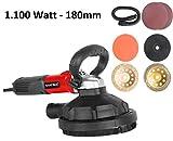Matrix MT 1100 130200370 - Lijadora de hormigón, amoladora de baldosas, multilijadora, con aspiración, incluye discos, 180 mm de diámetro, 1100 W, 230 V, color rojo y negro