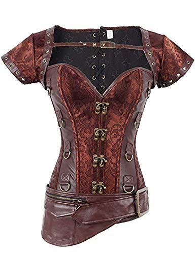 FeelinGirl Damen Korsett mit Stahlstäbchen - Brokatmuster - Retro/Gothic/Steampunk-Stahl ohne Knochen, Pink, M(EU 36)