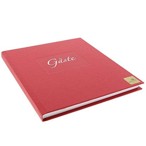 Goldbuch Gästebuch mit Lesezeichen, Seda, 23 x 25 cm, 176 weiße Blankoseiten Schreibpapier, Kunstdruck gerippt mit Silberprägung, Rot, 48047