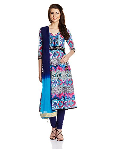 Rain and Rainbow Women's Anarkali Salwar Suit (SKD-4417-AW/19-19_Fuschia_M)