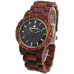 GREENGREEN Sandelholz Armbanduhr Damenuhr Rote Sandelholz
