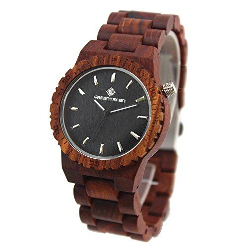Amexicollection GREENGREEN Sandelholz Armbanduhr Damenuhr Rote Sandelholz