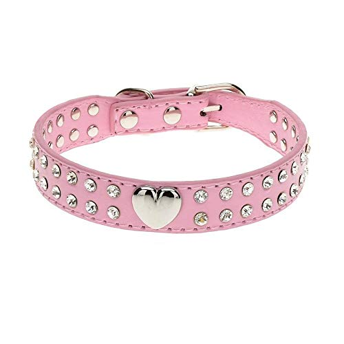 XIAOLANGTIAN Small Rhinestone Dog Collars Adjustable Puppy Dog Chihuahua Collar Necklace Pink Studded for Small Medium Dogs Collar Perro Xs-L,Pink,Xs