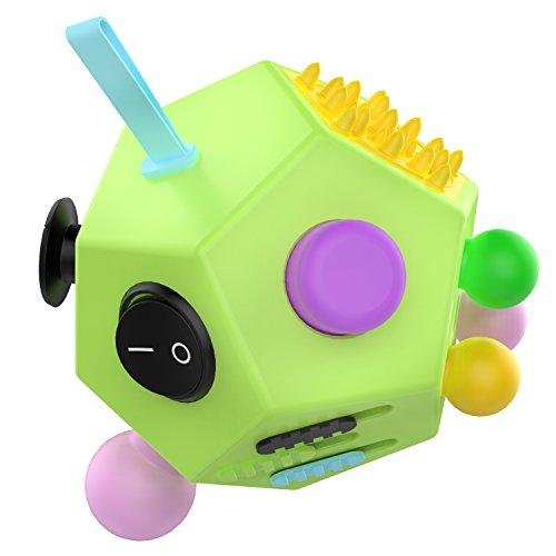 ATiC Fidget Cube, 12 Lados Cubo Magico Multifunción Descompresión Juguetes de Estrés la Ansiedad Relieve en el Trabajo, en la Vida o en Todos Partes, para Niños o Jóvenes, (Verde + Colores)