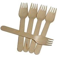Salida Thali - 100 x tenedores de madera Birchwood 160 mm llevar Biodegradable desechables