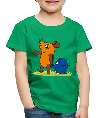Spreadshirt Sendung Mit Der Maus Elefant Und Maus Hand In Rüssel Kinder Premium T-Shirt, 110/116 (4 Jahre), Kelly Green - Kind Shirt Elefant