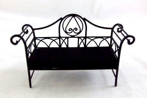 Miniatura Casa Delle Bambole Mobili Nero Cavi divano ferro battuto e cuscini