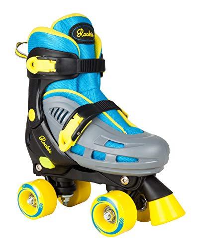 Rookie Duo Junior: Verstellbare Unisex-Rollschuhe für Kinder mit je 4 Rollen, Farbe: blau/gelb, Größen: 251/2bis29