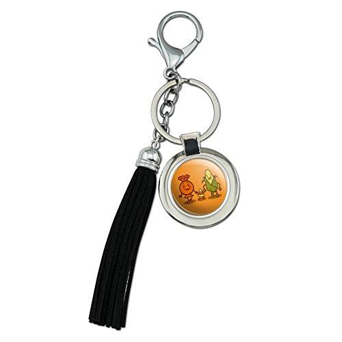 Candy Corn Family Halloween Schlüsselanhänger aus verchromtem Metall -