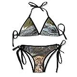 Hoklcvd Women's Colorful Adjustable The Blue Iguana Sexy Bikini Set 2 Piece