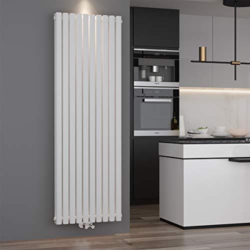 Design Röhren Heizkörper 590x1800mm Weiß Oval Paneelheizkörper Vertikal Mittelanschluss Doppellagig -