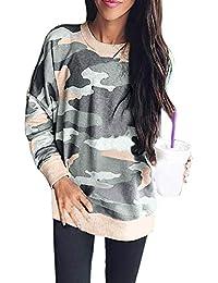 Suéter De Camuflaje, Anphia Otoño Mujeres Tops Casual Cuello Redondo Camisetas de Manga Larga Blouses Jumpers Moda Camuflaje T-Shirt Tees…