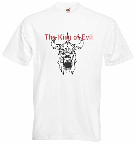 T-Shirt D538 T-Shirt Herren schwarz mit farbigem Brustaufdruck - Design Tribal Comic / abstrakte Retro Grafik / Totenkopf Monster Satan Mehrfarbig
