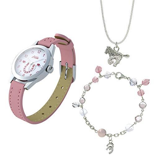 Relda Pferde Schmuck & Uhr, Halsekette, Armband Set für Mädchen