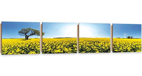 Feeby Frames, Tableau mural - 4 parties - Panoramique, Tableau Déco, Tableau imprimé, Tableau Deco Panel, 30x120 cm, PRAIRIE ARBRE, NATURE, FLEURS, MOULIN, JAUNE, BLEU