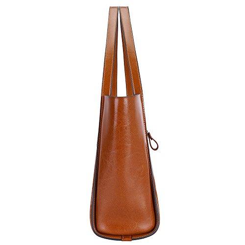 S-ZONE Borsa del sacchetto di spalla del Tote di cuoio genuino di modo delle donne di marrone