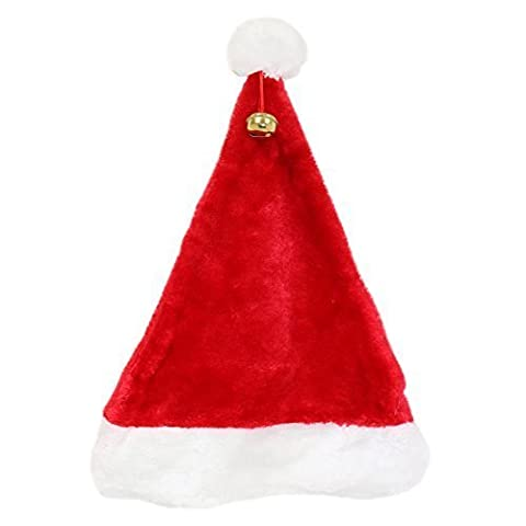 Snowflakes Costumes For Kids - Kids Red Luxury Fluffy Christmas Santa Hat