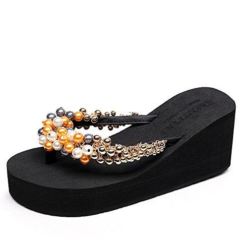 Estate Sandali Sezione estiva in rilievo sandali nazionali del vento / Sandali da spiaggia bassi femminili Colore / formato facoltativo 1001