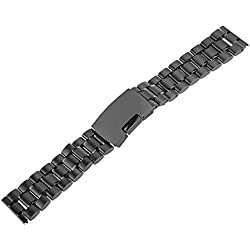 WINOMO Stainless Steel Watch Band Strap Straight End Solid 22mm (Black)
