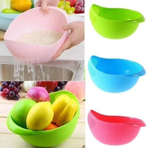 KhushiFab Plastic Kitchen Tool Rice Bowl Strainer (Multicolour)