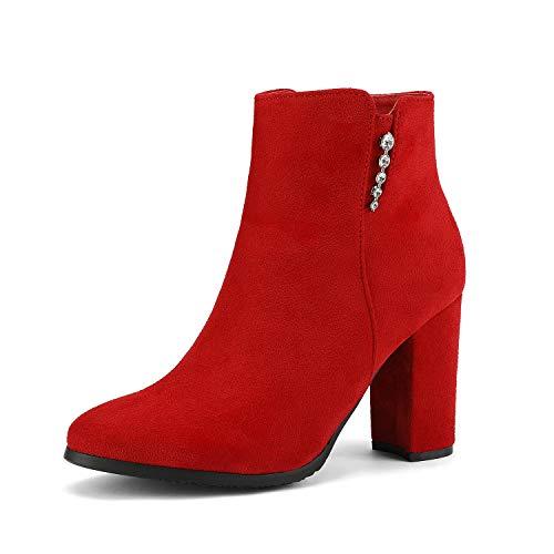 Dream Pairs Castaneda-1 Botines de Tacón Ancho Moda Otoño Invierno para Mujer Rojo 40 EU/9 US