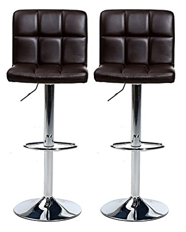 Pair of Cuban Bar Stools Set with Backrest, Leatherette Exterior, Adjustable Swivel Gas Lift, Chrome Footrest and Base for Breakfast Bar, Counter, Kitchen and Home Barstools