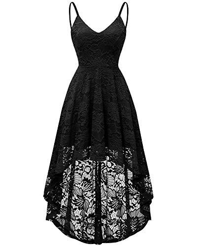 bridesmay Elegant Spitzenkleid Ärmellos Asymmetrisches Cocktailkleid Festlich Hochzeit Partykleid Abendkleid Black M