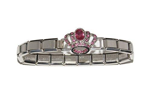 Corona con pietre rosa per bracciale, lettera a), 9 mm Italiano-Bracciale per Zoppini, e pendenti stile Talexia Nomination