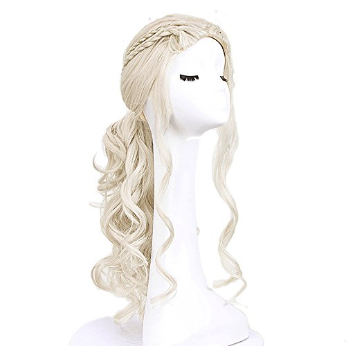 Vococal® 65 cm Perruque de Longue Bouclée,Haute Qualité Perruque Cosplay Pour Femmes(Couleur: Blond clair)