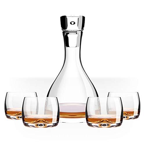 Carafe De Décantation Dekanter Whisky Glas 4 + 1 Geschenkbox-Set Nach Hause Wein Glas Wein Weinflasche Set, 1 Flasche + 4 Weinglas Set